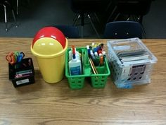 Love the small trash can on each table! Organization - Mrs.Shannon's First Grade Class