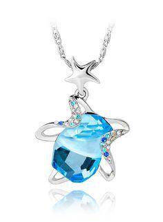 Beautiful Star Fish #Blue & #Pink #Indian #Jewelry #Swarovski #crystal #Pendant