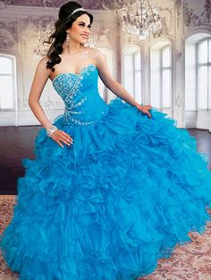 Blue Quinceanera Dresses - Full Ruffled Skirt And Sweetheart Neckline