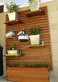 wall-mounted slats with shelves for container gardening