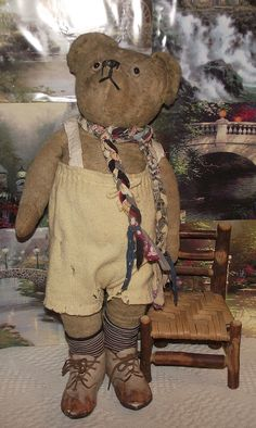 "ADORABLE LARGE ANTIQUE GOLDEN MOHAIR JOINTED TEDDY BEAR LONG SNOUT 23"" TALL"