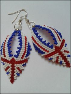 diy bead earrings union jack