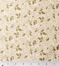 Holiday Inspirations-Holly Scroll Cream Metallic Fabric at Joann.com