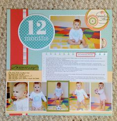 Monthly scrapbook layout ideas for baby's 1st year. Other holiday layouts and inspiration here too.