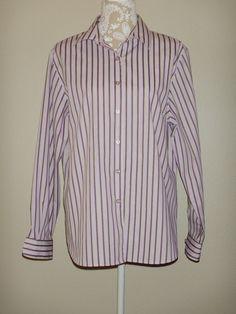 Foxcroft Women's Size 16 Wrinkle Free Shaped Fit Blouse Purple Striped #Foxcroft…