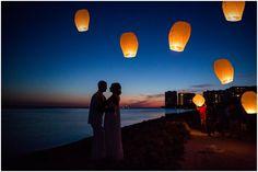 Chinese Lanterns at beach wedding - Janelle Elise Photography