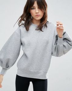 ASOS WHITE Balloon Sleeve Sweater