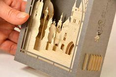 Prague amazing gift calendar card 2017, 3d paper craft Charles Bridge miniature Unique pop up calendar Czech souvenir, Luxury Prague present