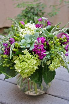 Flower Arrangement with green, purple plum and white