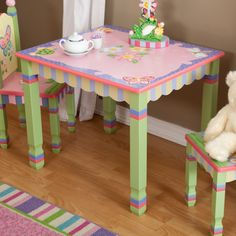 Magic Garden Table and Chair Set – Kids Table and Chair Sets at Play Kitchens garden table and chair sets Gone are the days when decorating . Whimsical Painted Furniture, Painted Chairs, Hand Painted Furniture, Funky Furniture, Painted Tables, Garden Furniture, Furniture Design, Garden Table And Chairs, Kids Table And Chairs