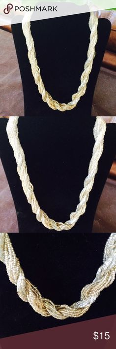 💐Beaded crystal necklace💐 -Silver and gold tones -22 inches Jewelry Necklaces