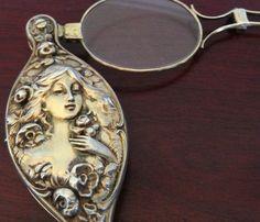 UNGER BROS? Sterling Silver LORGNETTE OPERA GLASSES Antique Victorian Nouveau   eBay