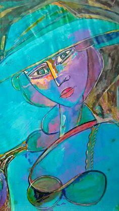 Petalo de Hibiscus Rojo en Azul Alfredo Mordss /tecnica universal _canson