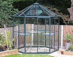 Vitavia Hera 8′ x 7′ Green Hexagonal Greenhouse (complete with base)