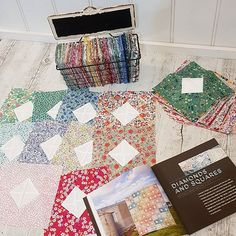 """My latest installment for my #diamondsandsquaresquilt made from my monthly Society Bundles from #avaandneve Next bundle will just about finish this Quilt  Pattern can be found in the book """"By the Bundlle"""" by @emmajeanjansen #libertyfabric #liberty #avaandneve #bythebundlebook"""