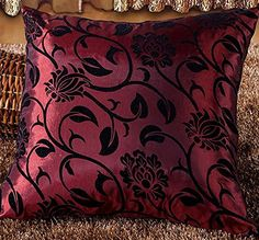 Luxury Pure Silk Embossed Black Flower and Leaf Printed 45 cm x 45 cm Cushion Cover (Dark Red) Verdi http://www.amazon.co.uk/dp/B00UES6MUA/ref=cm_sw_r_pi_dp_jNP9wb1RE2AS5