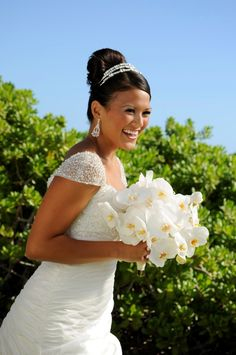 Chic all white orchid bridal bouquet