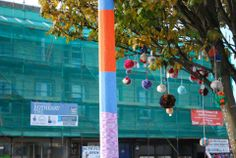 Pompom blossom tree and yarn bombed lamp post at Guildford Square, overlooking Rothesay THI funded regeneration work underway on Montague Street Yarn Bombing, Blossom Trees, Pta, Street, Creative, Fabric, Projects, Image, Tejido