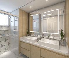"""820 curtidas, 37 comentários - Marília Zimmermann (@marilia.arq) no Instagram: """"Banheiro do Casal   Uma decoração com madeira clara, design leve e linhas retas. Os espelhos…"""""""