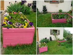 #Garden, #Painted, #PalletPlanter, #Pink, #RecyclingWoodPallets A nice planter made of recycled wooden pallets and paint in pink! Looks beautiful in the garden!