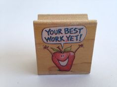 Your Best Work Yet - Teacher - Happy Apple Vintage Rubber Stamp - Card Making - Crafts  161026A by SirStampinton