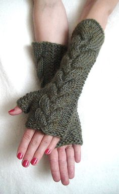 Fingerless Gloves Long Cabled Khaki Green Wrist by LaimaShop