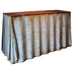 Vintage Galvanized Curtain Console Table