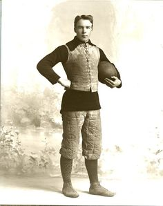 Vintage Football Player Antique Uniform Old Ball GREAT