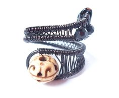black adjustable wire wrapped beaded bone ring by 2wired on Etsy, $50.00