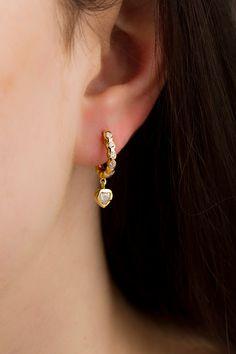 Heart Huggie earrings - Love hoop earrings - Tiny hoop earrings - Tiny gold hoops Gold hoop earrings - Dainty hoop earrings Aquamarine Necklace, Diamond Earrings, Pearl Earrings, Mini Hoop Earrings, Silver Ear Cuff, Gold Hoops, Gold Engagement Rings, Precious Metals, Jewerly