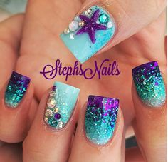 Nageldesign 56 Magnificient Summer Beach Nails Designs Ideas Weddbook invitation so that gu Fancy Nails, Pretty Nails, Beach Nail Designs, Nautical Nail Designs, Disney Nail Designs, Beach Nail Art, Pedicure Designs, Cruise Nails, Mermaid Nails
