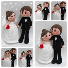 Bride and groom amigurumi - Free Patterns