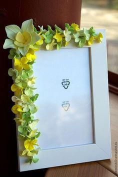 Купить Фоторамка - салатовый, рамка, фоторамка, фотография, цветы, цветы ручной работы, ромашки, гортензия