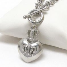 'Rhinestone Crystal Heart and Crown GP Toggle Necklace' is going up for auction at  4pm Sun, Feb 23 with a starting bid of $9.