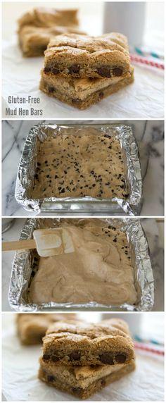 Gluten-Free Mud Hen Bars - chocolate chip cookie bars with brown sugar meringue, all gluten free!
