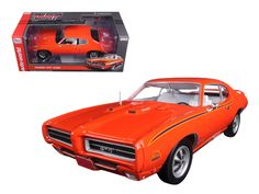 1969 Pontiac GTO Judge Orange Limited Edition to 1002pc 1/18 Diecast Car Model by Autoworld - Brand new 1:18 scale diecast car model of 1969 Pontiac GTO Judge Orange Limited Edition to 1002pc die cast model car by Autoworld. Limited Edition. Rally II Wheels. Dual Hood Scoops. Has steerable wheels. Made of diecast metal. Detailed interior, exterior. Accurate Interior & Chassis. Has opening hood and doors. Heavyweight Die-Cast Metal. Detailed 400-4 Ram Air IV Engine. Dimensions approximately…