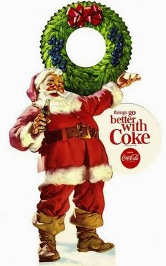 "Our current visions of Santa are derive directly from Coca Cola. Prior to the ""Coke Santa"" there were MANY pictures of many different ""Santa looks"". Coca Cola Santa, Coke Santa, Coca Cola Christmas, Coca Cola Ad, Always Coca Cola, Merry Christmas, Vintage Christmas Cards, Vintage Holiday, Christmas Labels"