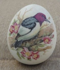 Hand Painted Stone Egg with Bird and Flowers
