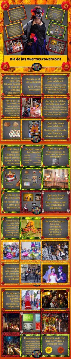 Day of the Dead, Día de los Muertos Spanish PowerPoint Presentation (English version also available).  40 slides and 2 videos showcasing ofrendas, altars, sugar skulls, copal, pan de muerto, mojigangos, papel picado, and more.