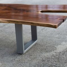 Walnut Coffee Table With Stainless Base by Scott Kestel