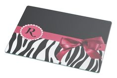 Rikki Knight Letter ' R ' Tropical Pink Zebra Bow Monogram Large Glass Cutting board Workspace Saver (Ideal Gift for Barbecues Grills or any occassion) *** Discover this special product, click the image : Cutlery Knife Accessories