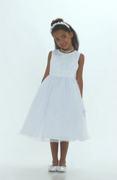 Flower Girl Dress Style 6036 White-Simple Organza Dress With Hand Beaded Satin Belt