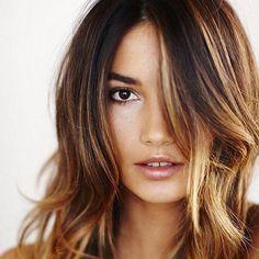 Medium Straight Hair with Caramel highlights for Dark brown hair