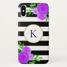 Black White Striped Purple Floral Gold Monogram IPhone X Case