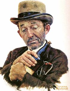 Bing Crosby as Doc Josiah Boone in 'Stagecoach' // painted by Norman Rockwell
