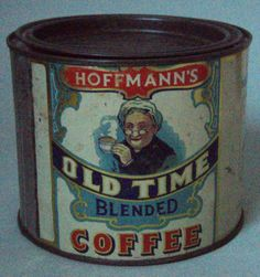 1 Pound Hoffmann's Coffee Advertising Tin Can w Lid Excellent Condition Old Lady | eBay $175.00