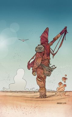 """This is more moebius work. I have this hat that i wear that often looks like a conical hat, and i've often described it as """"native paracletian dress"""""""