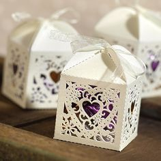 Decorative Heart Ivory Favor Boxes - fill with Hershey Kisses?