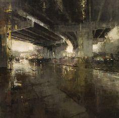 "artchipel: "" Jeremy Mann - Beneath the Bayshore Freeway. Oil on Panel, 48x48 in. """