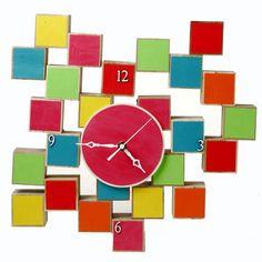 ReFab Diaries: Repurpose: Old toys = new grown-up decor Unique Clocks, Cool Clocks, Handmade Clocks, Bedroom Clocks, Tick Tock Clock, Diy Clock, Wooden Diy, Diy Wood, Jewelry Tree